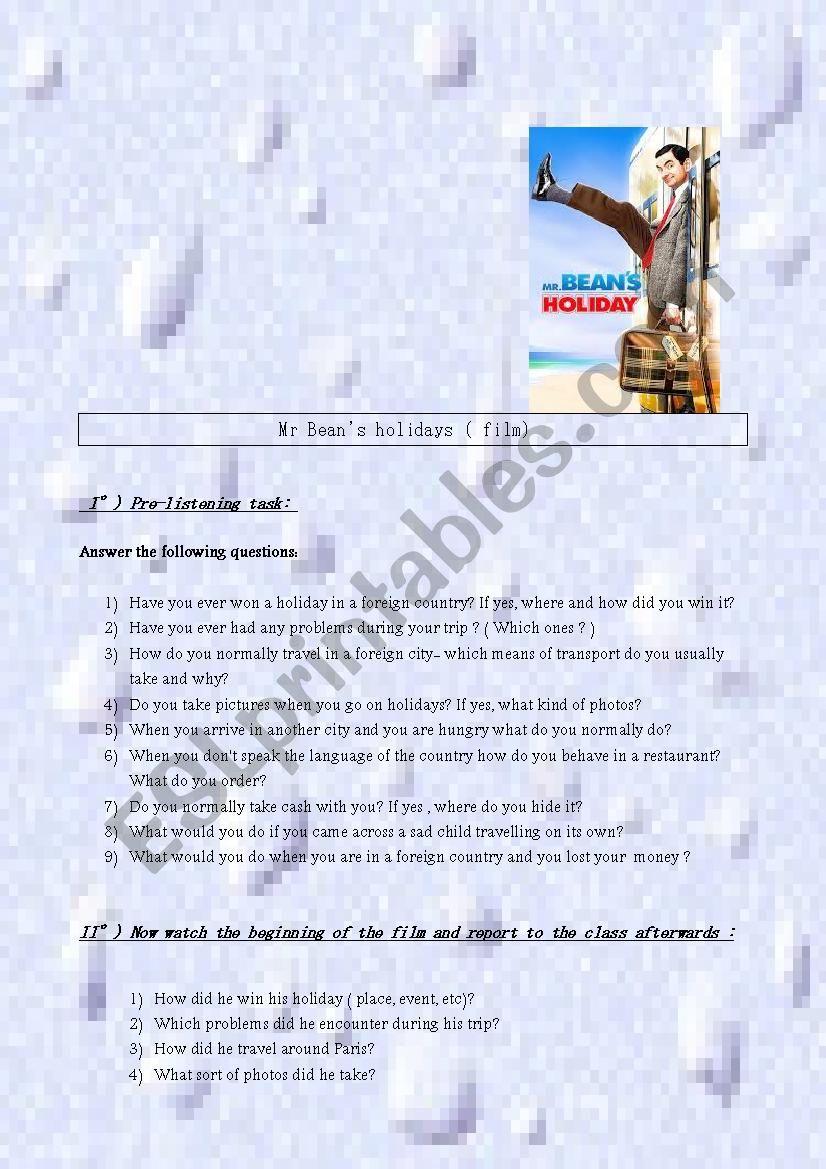 Mr Bean´s holiday - film worksheet