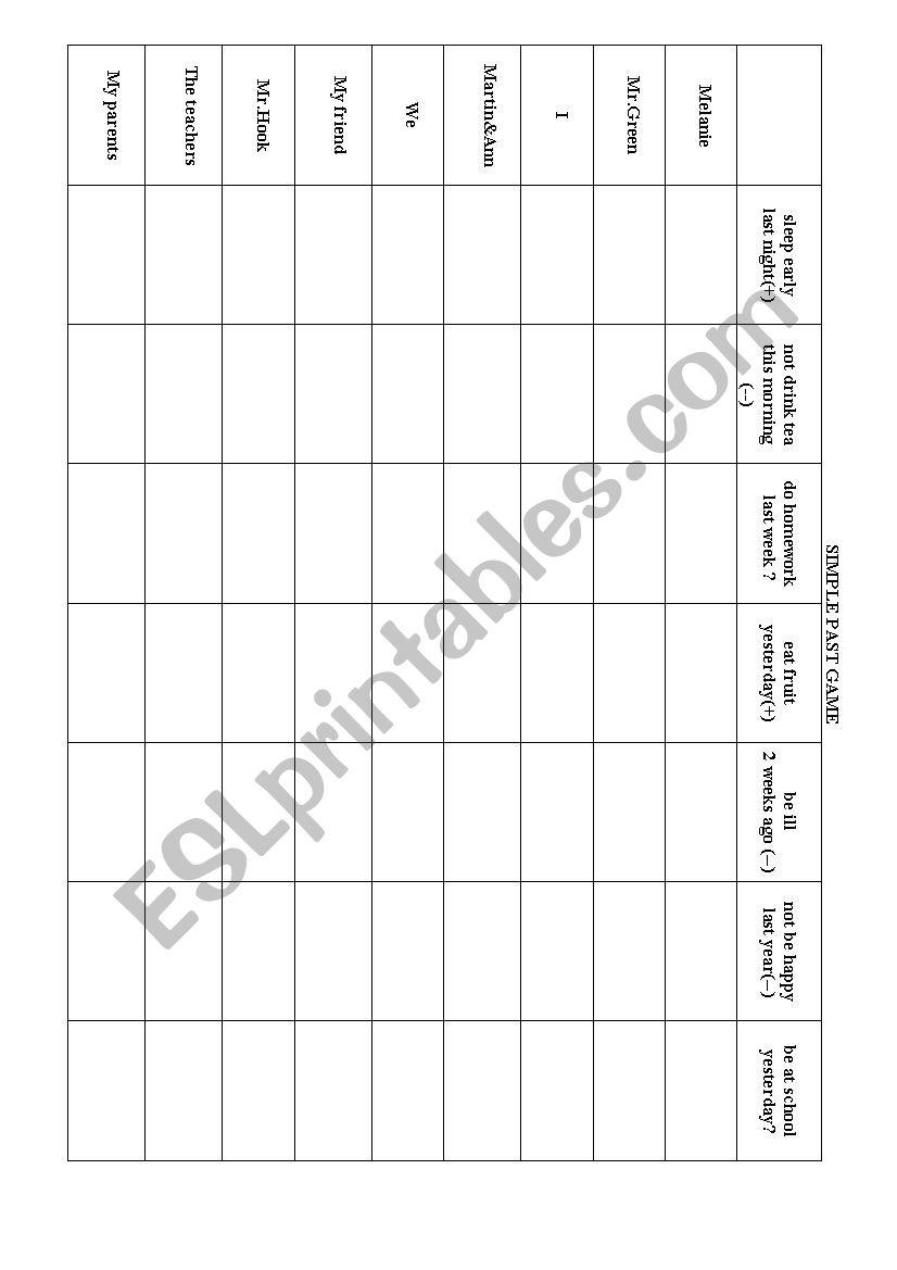 Simple Past Tense Grid worksheet
