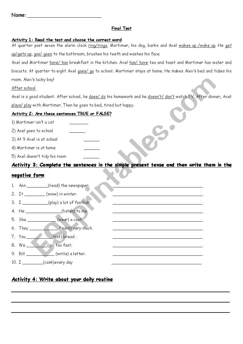 Simple Present Test worksheet