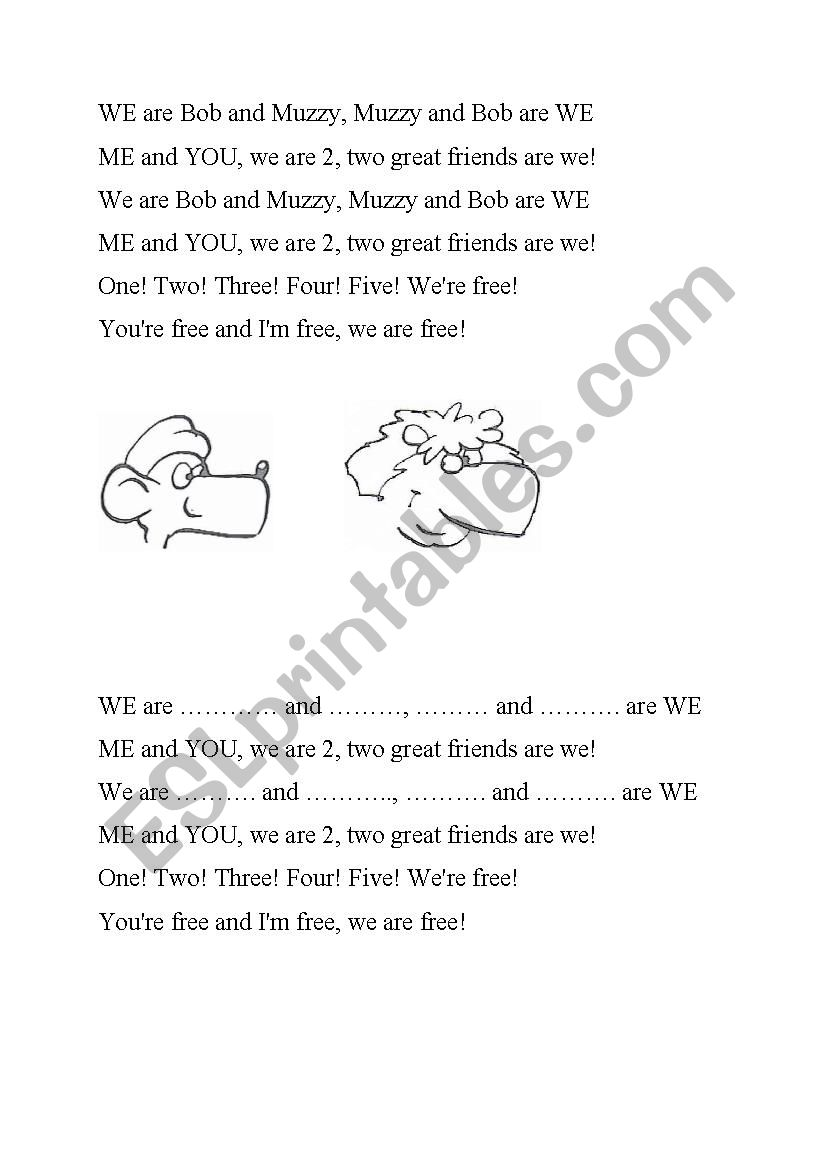 Muzzy: We are Bob and Muzzy  worksheet