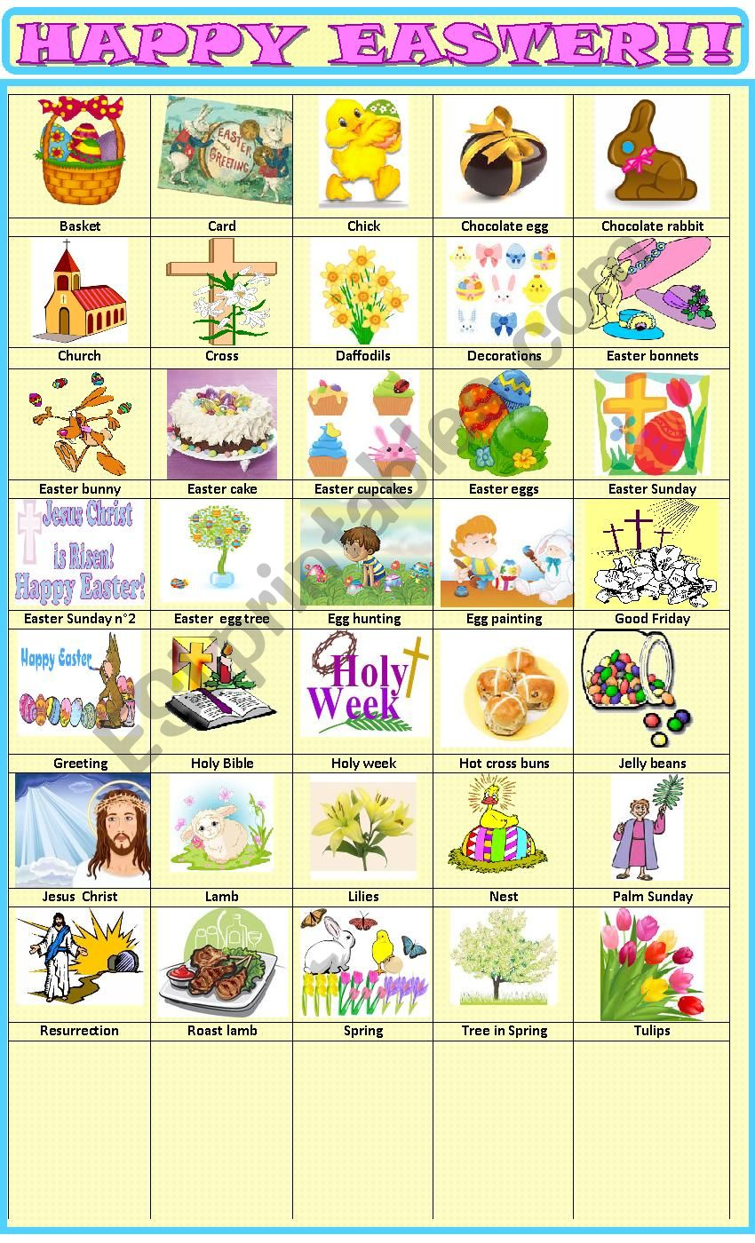 Easter:pictionary worksheet