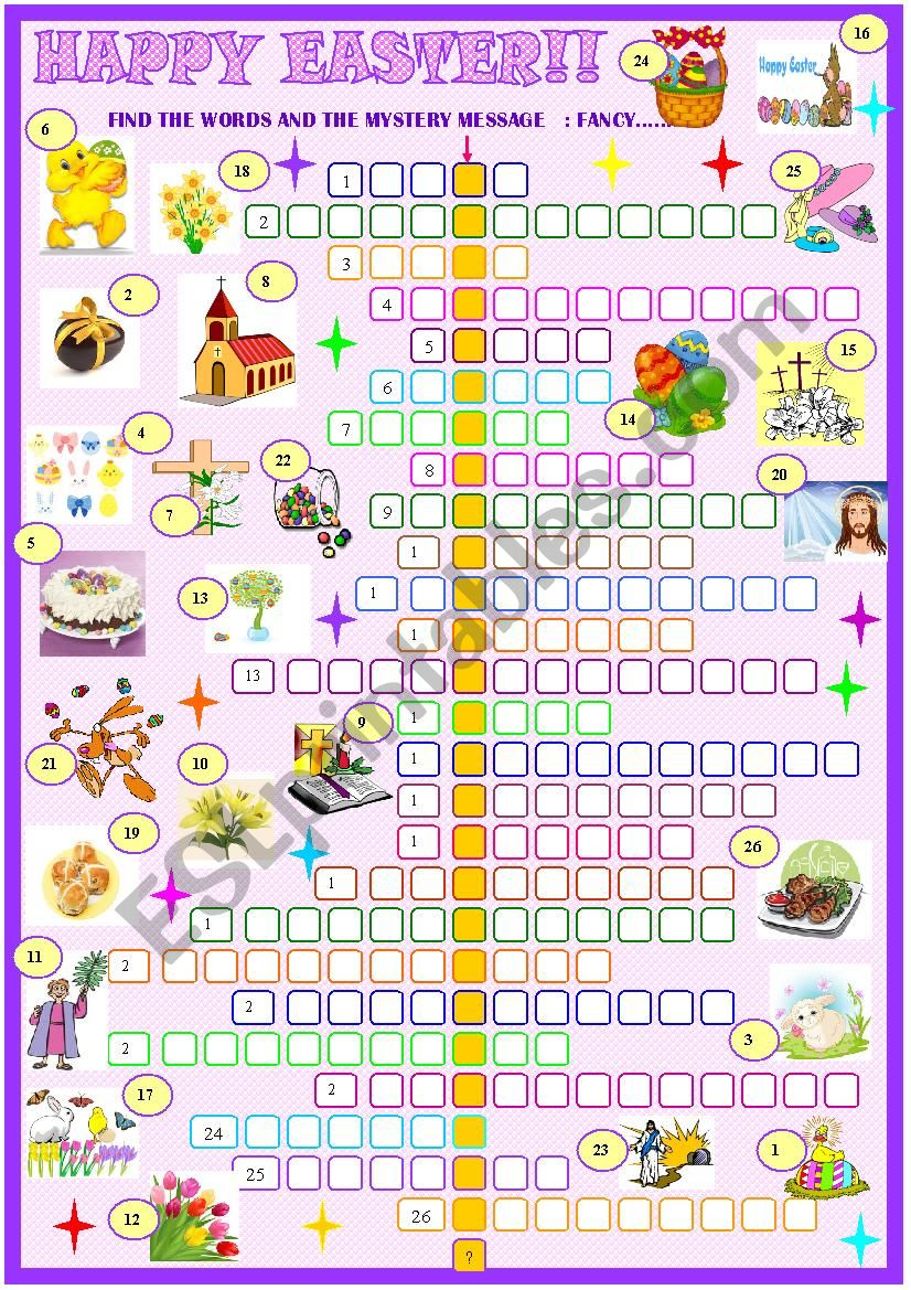 picture about Easter Crossword Puzzles Printable referred to as Easter:Crossword puzzle - ESL worksheet by way of spied-d-aignel