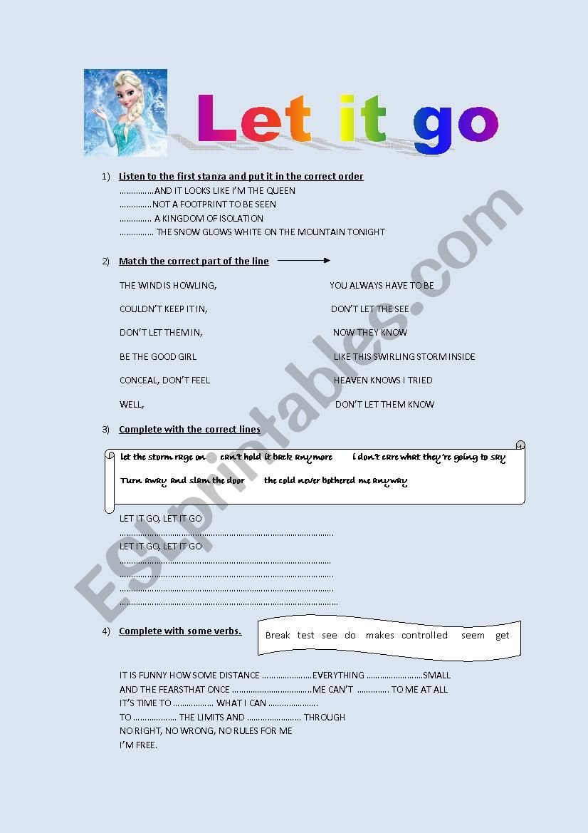 Let it go ( by Demi Lovato) worksheet