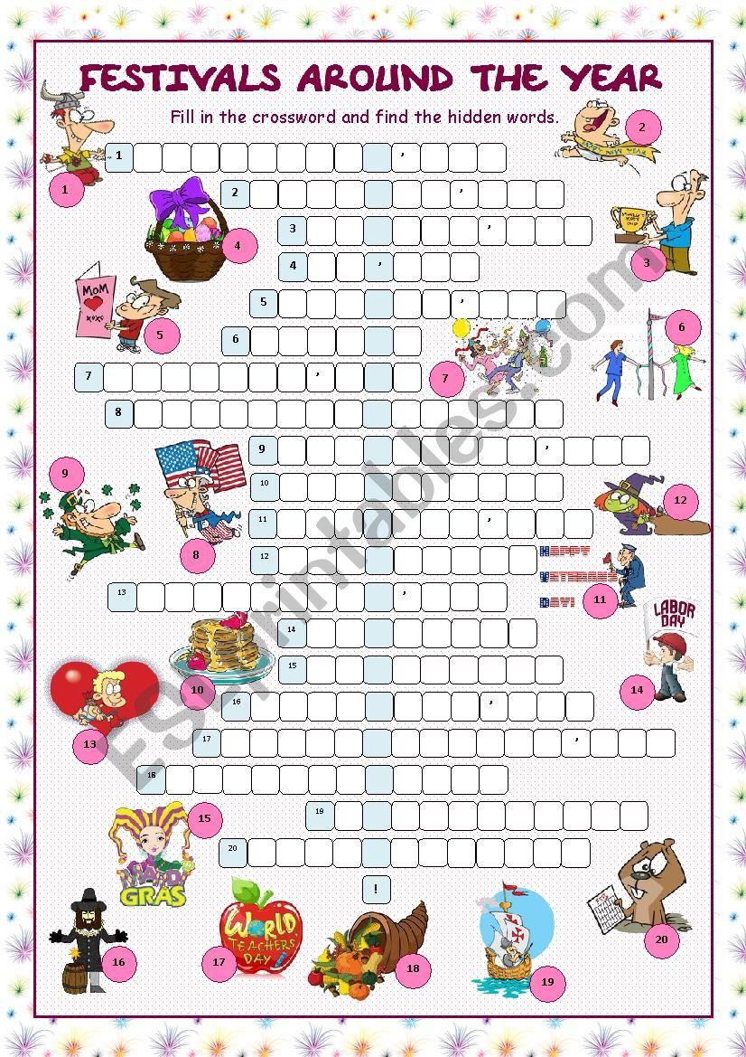 Festivals Around the Year (Crossword Puzzle)