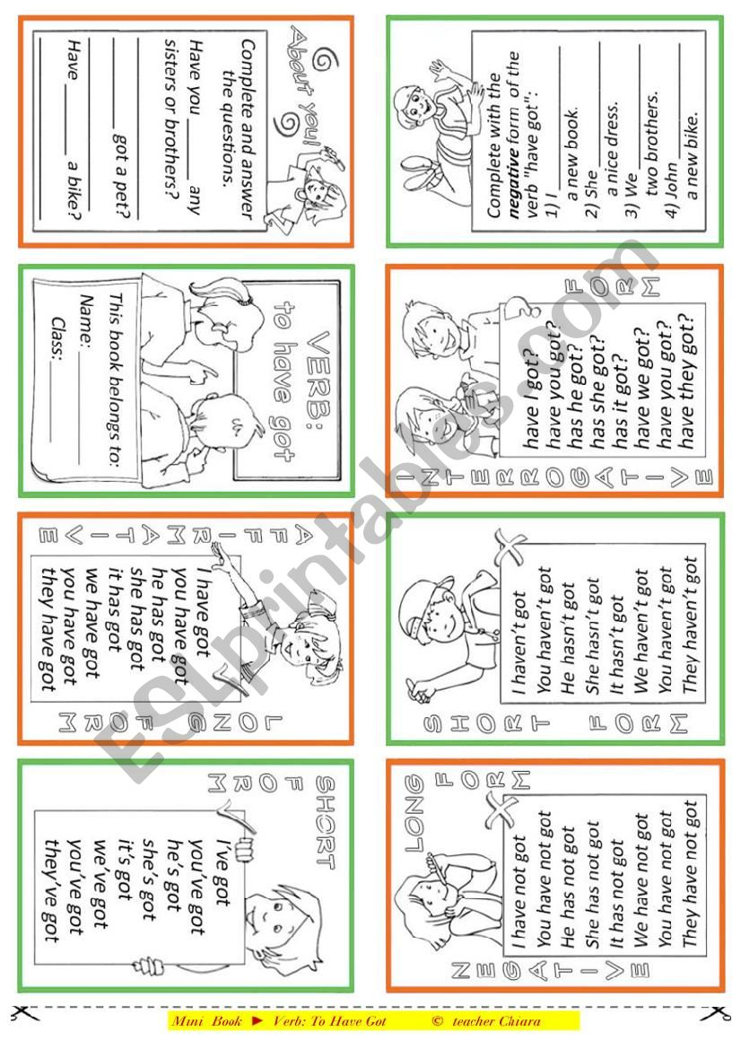 Mini book - To Have Got worksheet