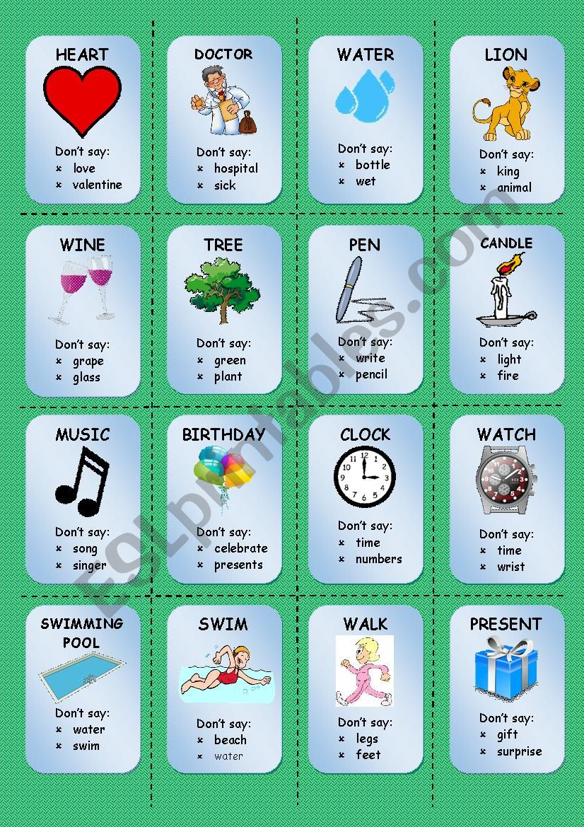 TABOO CARDS (1/3) worksheet
