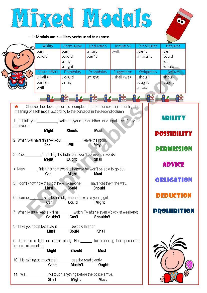 Modals - ESL worksheet by sarasantos