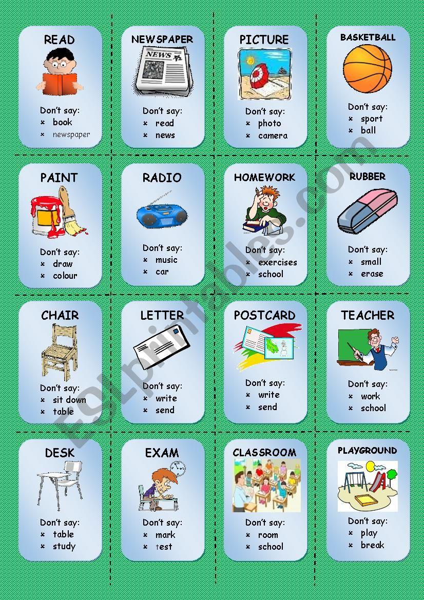 TABOO CARDS (3/3) worksheet