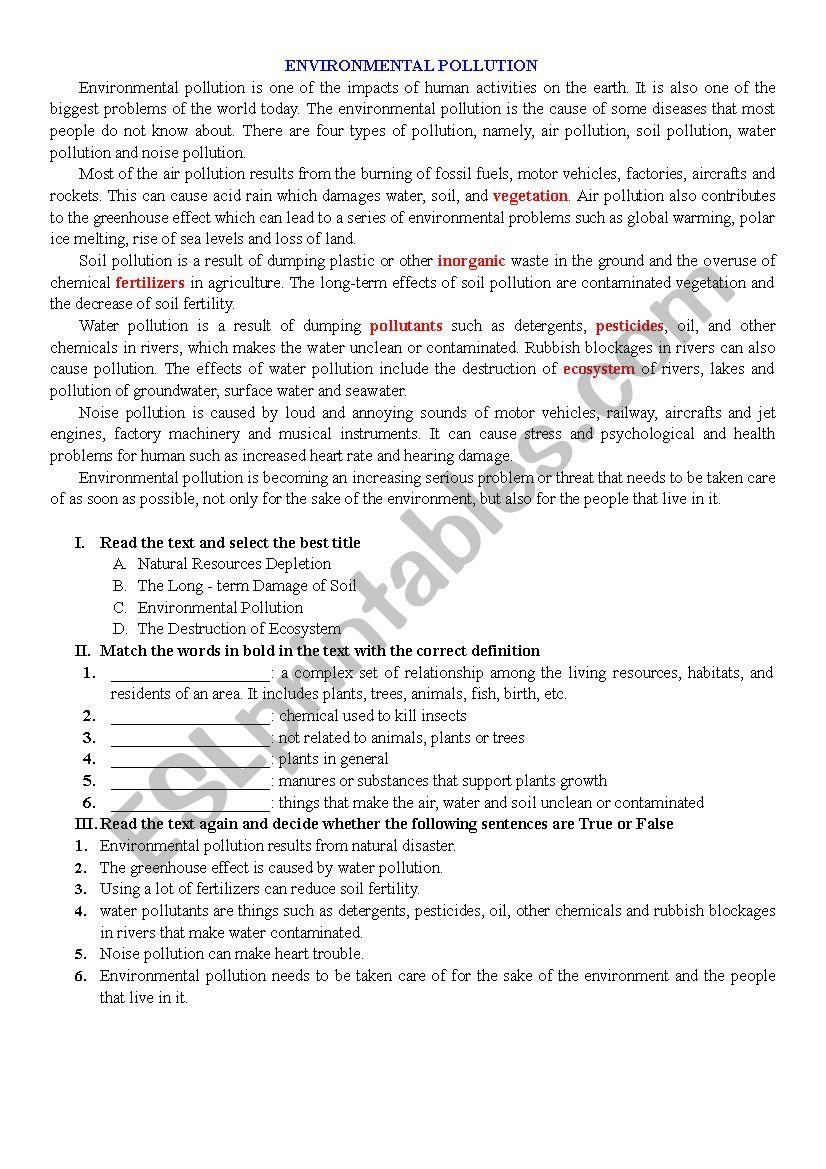 ENVIRONMENTAL POLLUTION worksheet