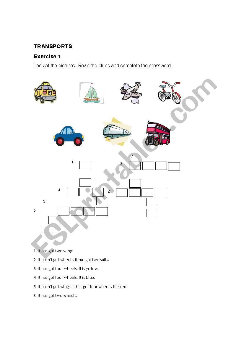 TRANSPORTATION VOCABULARY worksheet