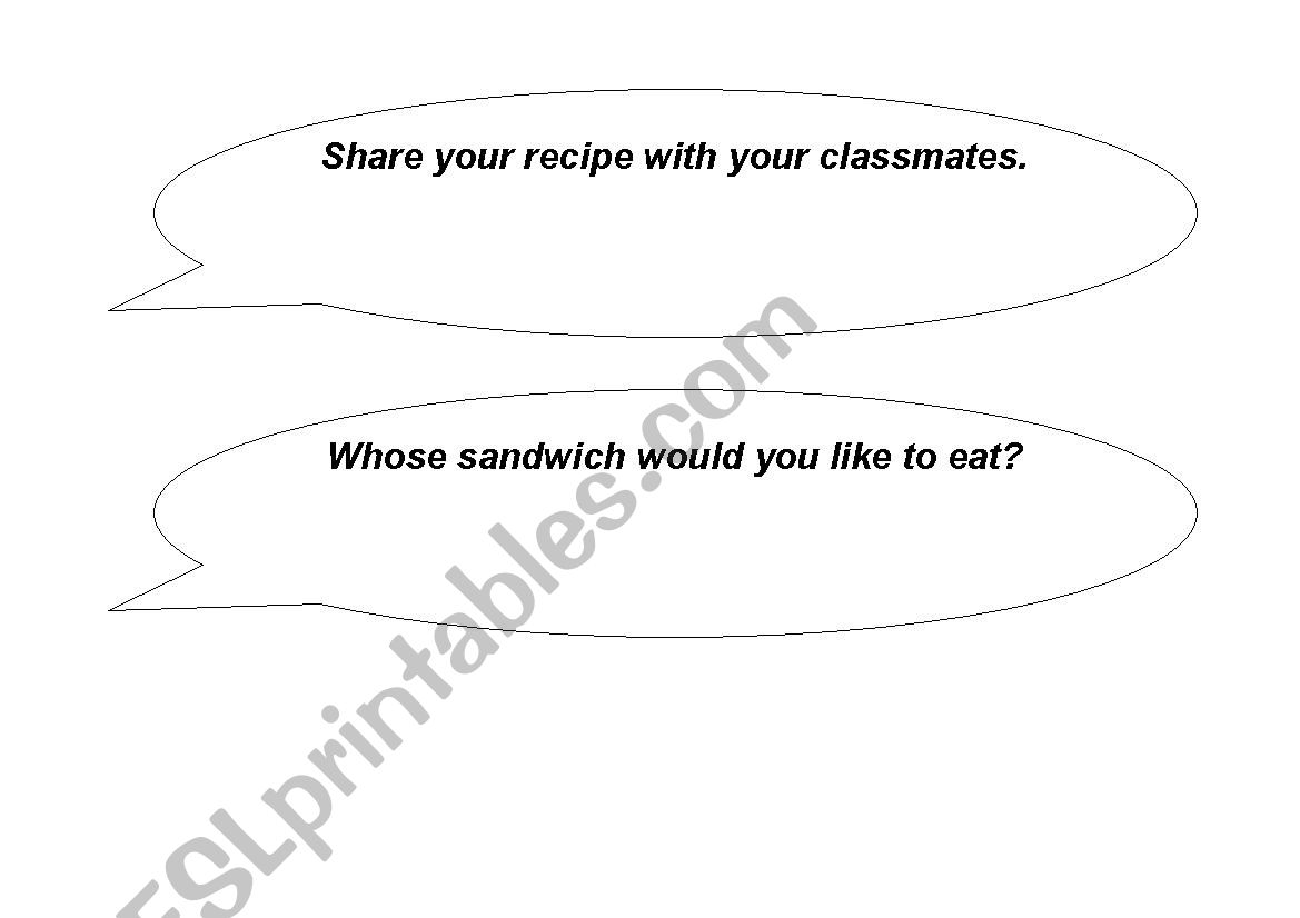 A writing lesson - write a sandwich recipe - ESL worksheet