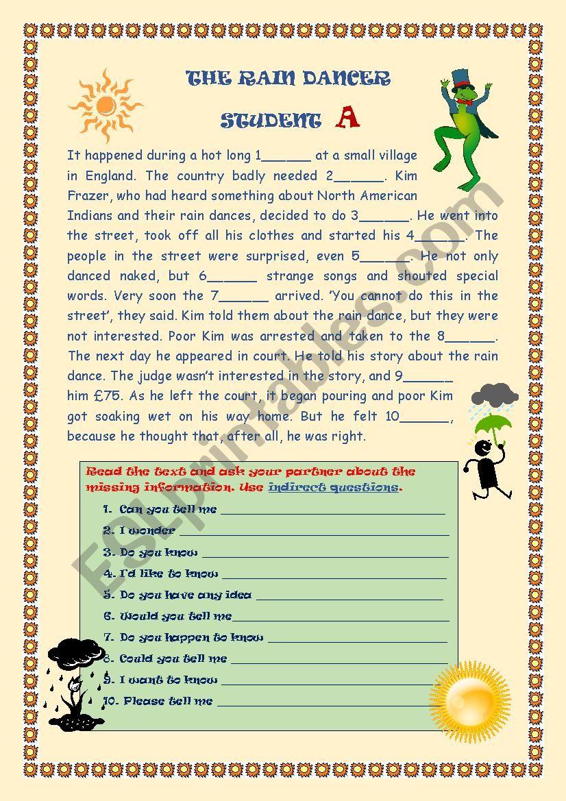 The Rain dancer worksheet