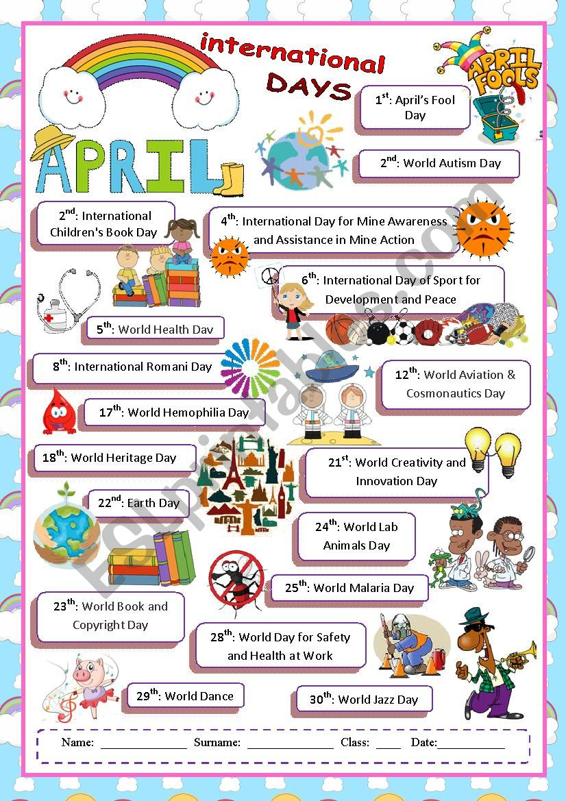 April International Days worksheet