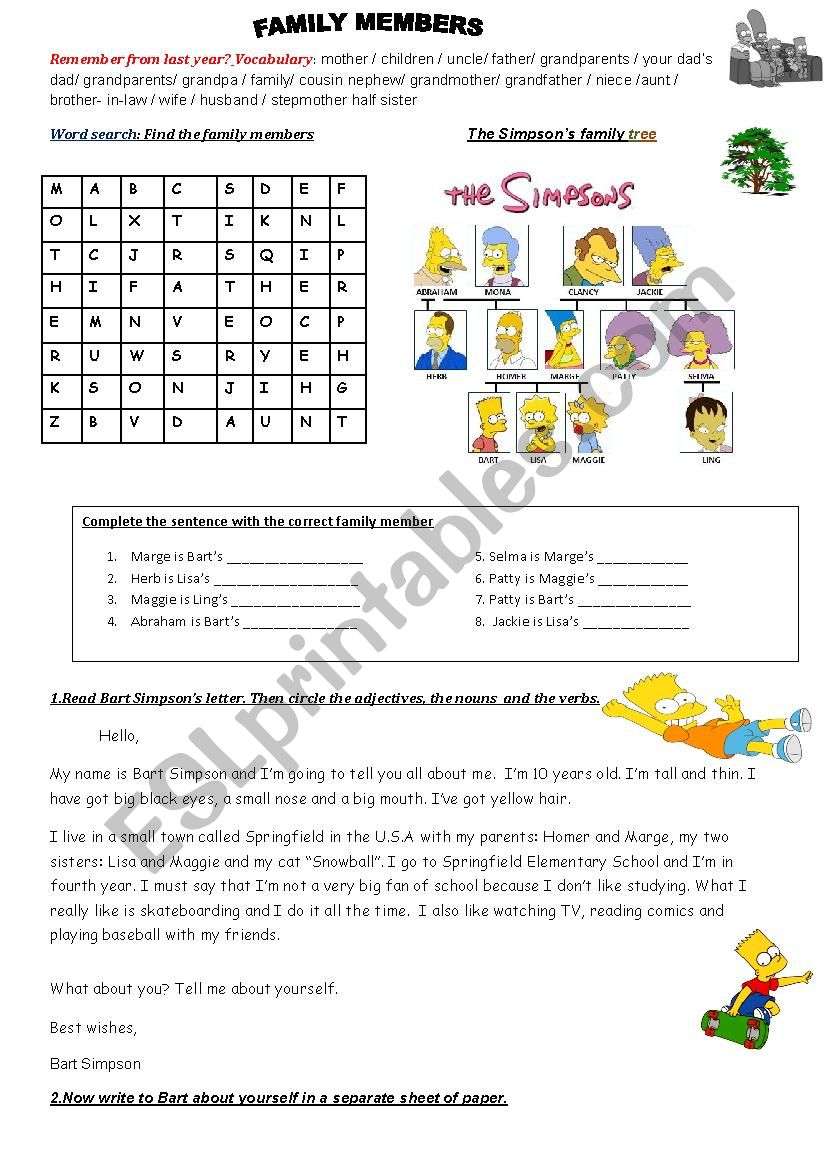 The Simpson´s family: vocabulary, wordsearch,family tree and Bart´s personal description