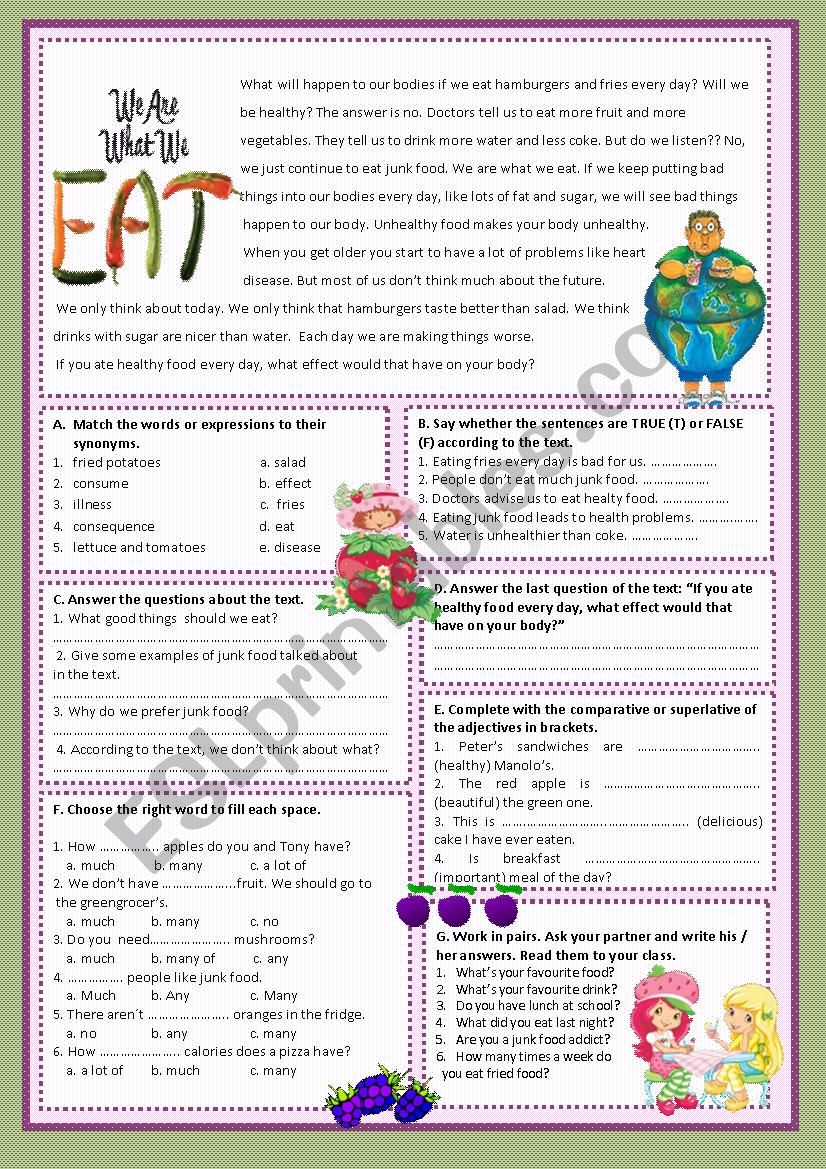 WE ARE WHAT WE EAT! worksheet