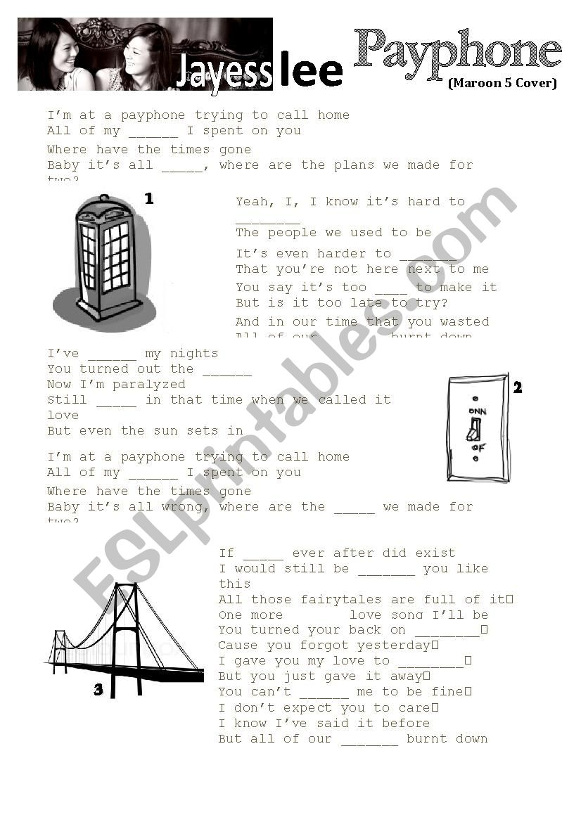 Jayesslee - Payphone (Maroon 5 Cover) Listening activity & questions w/ Answer Sheet