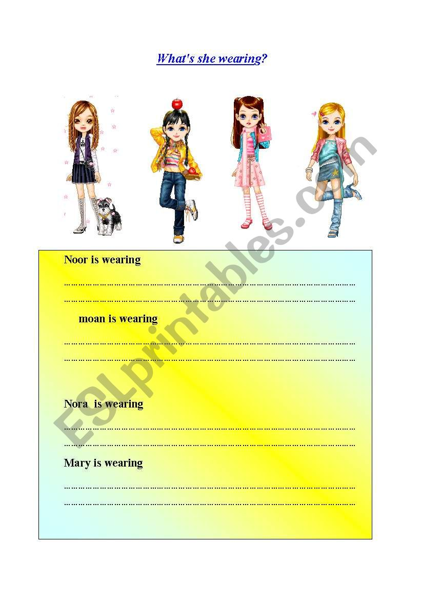 What´s she wearing? worksheet