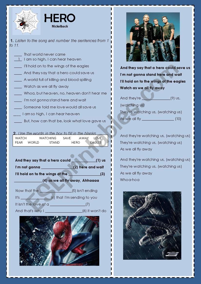 Song Hero Nickelback worksheet