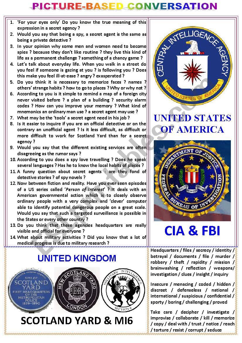 Picture-based conversation : topic 70 - Scotland Yard & MI (5 or 6) vs CIA & FBI