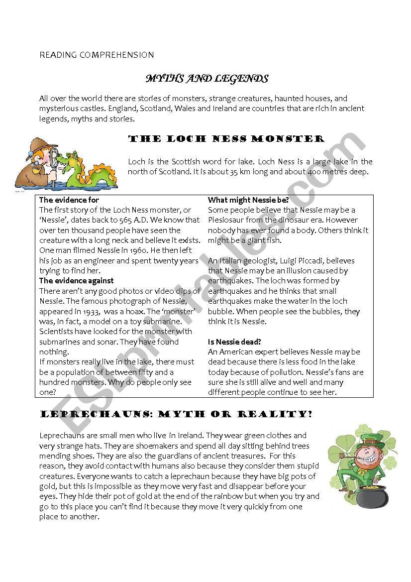 Myths And Legends Esl Worksheet By Carmeniametti