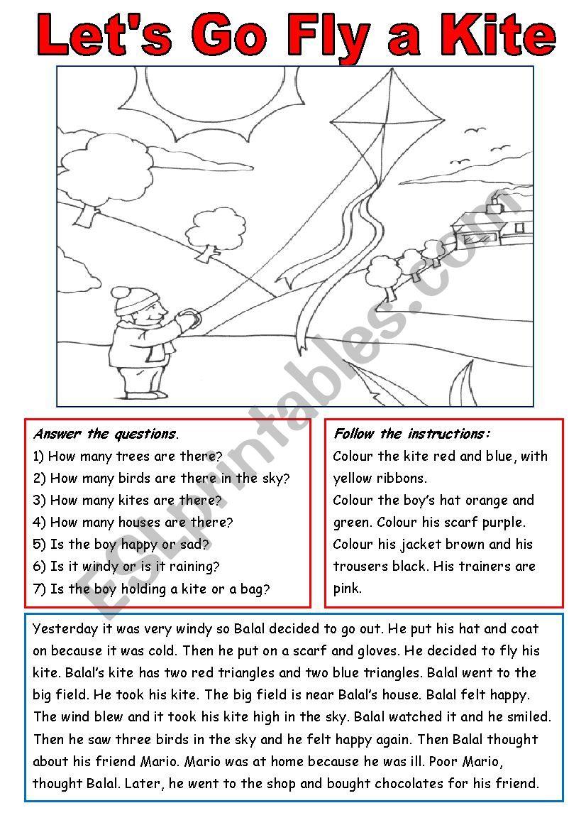 Let´s Go Fly  a Kite! worksheet