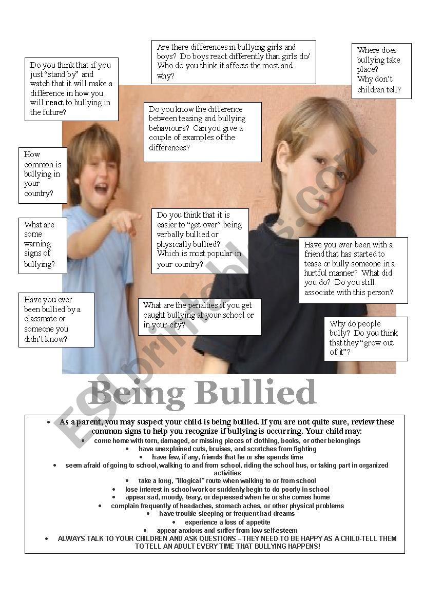 Being Bullied worksheet