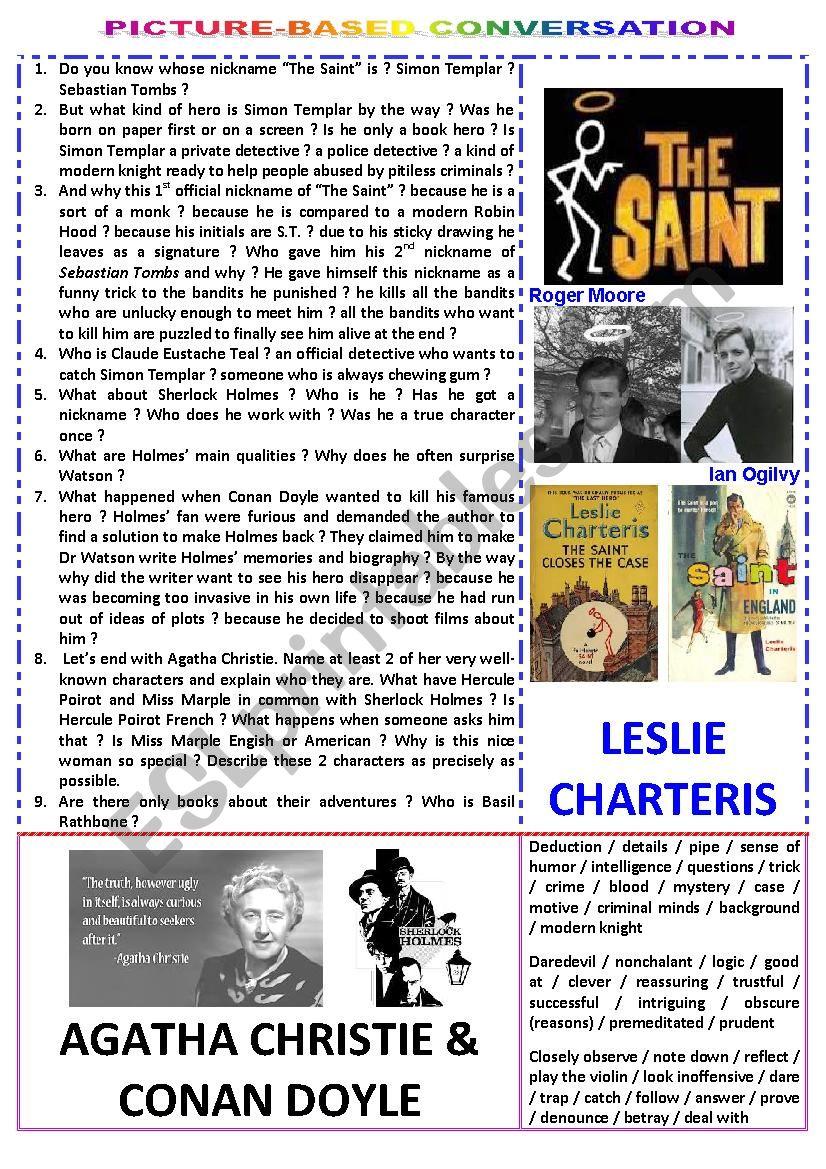 Picture-based conversation : topic 74 - Agatha Christie & Conan Doyle vs Leslie Charteris