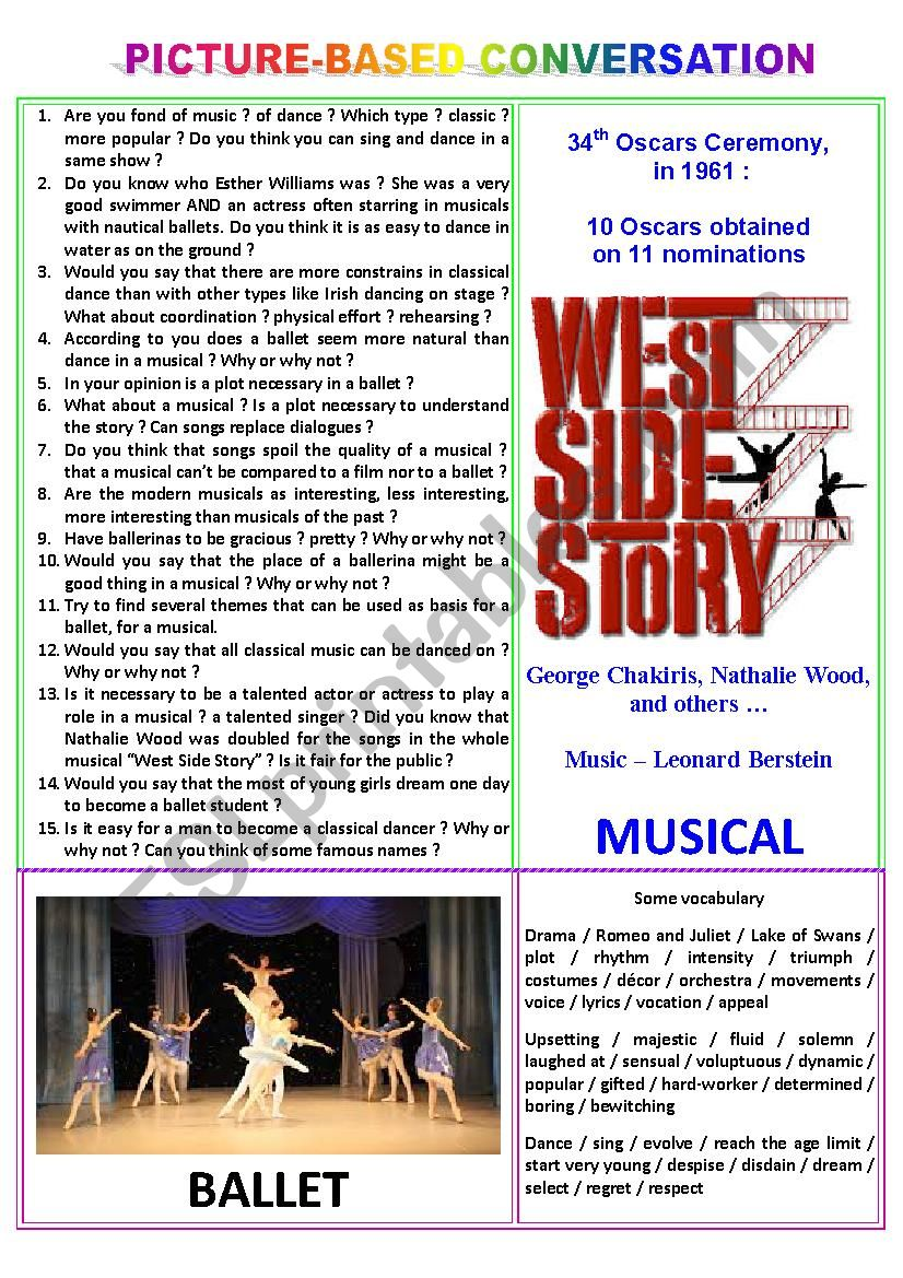 Picture-based conversation : topic 75 - ballet vs musical