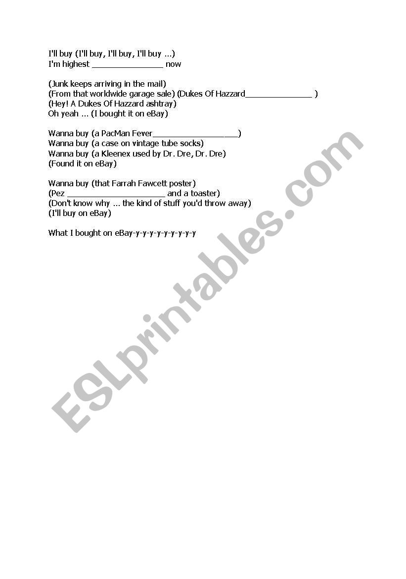 English Worksheets Song Ebay By Weird Al Yankovic