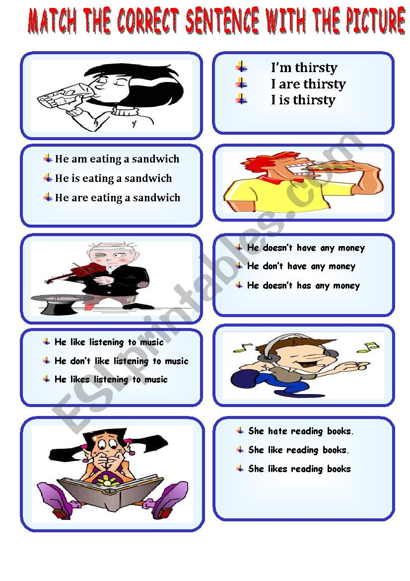 Speaking Cards Choose The Correct Sentence Esl Worksheet By