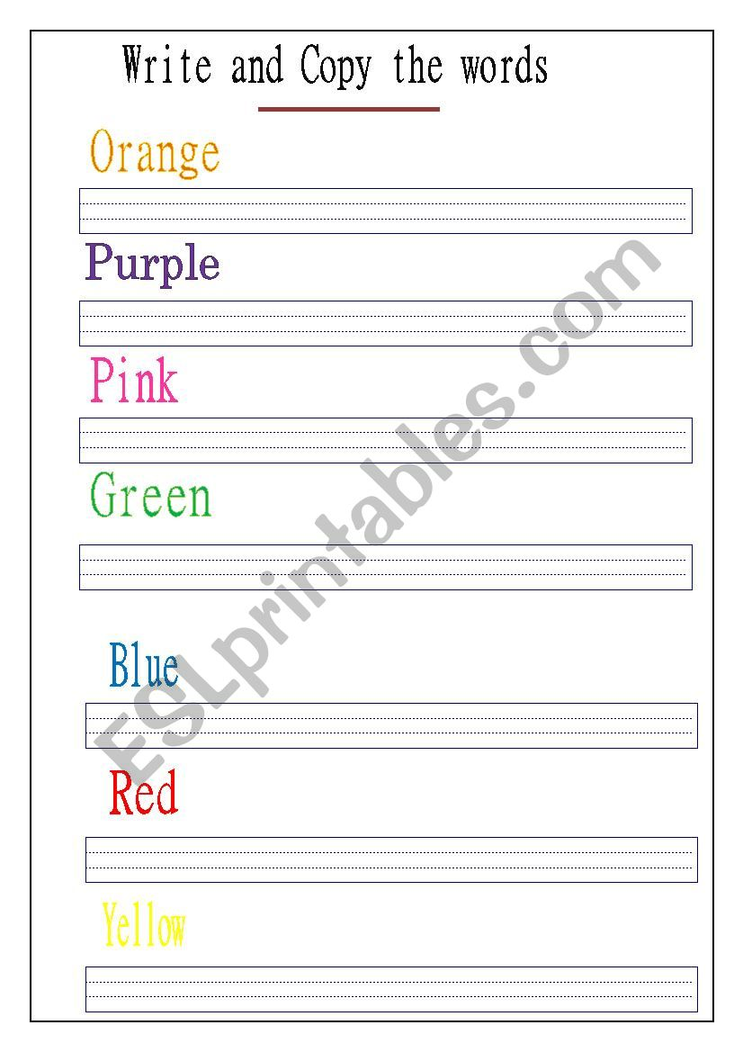 writing colour words  worksheet