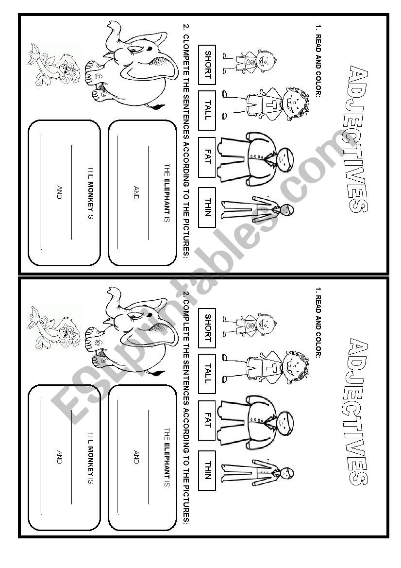 Adjectives - appearance worksheet