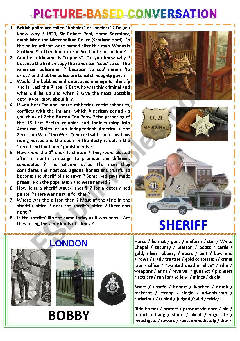 Picture-based conversation : topic 76 - bobby vs sheriff