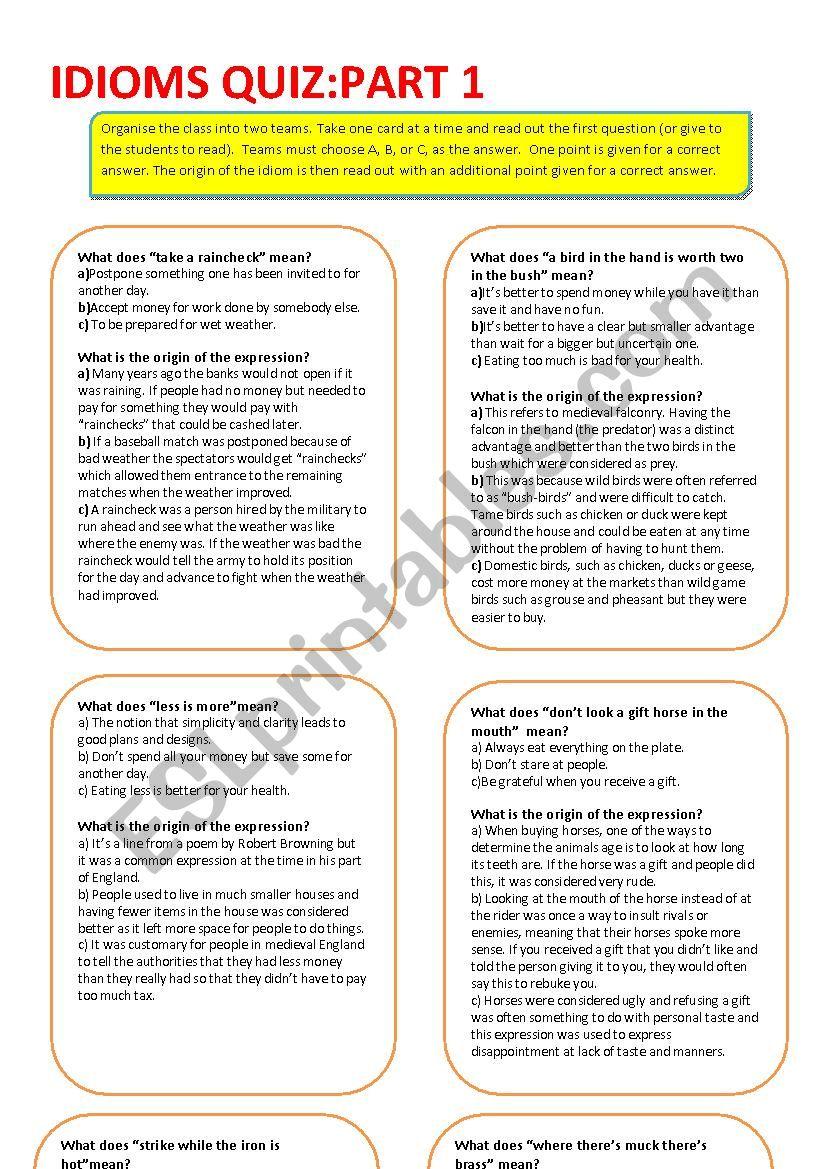 Idioms Quiz: Part 1 worksheet
