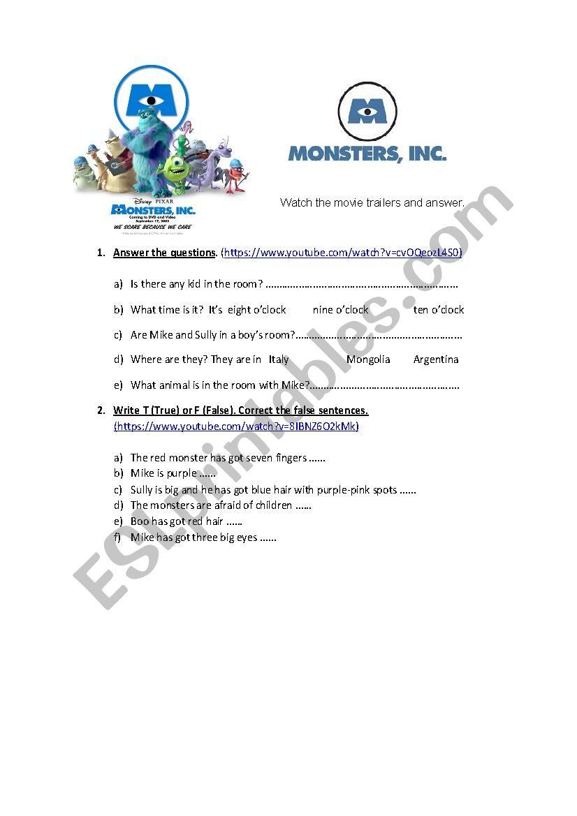 Monsters Inc worksheet