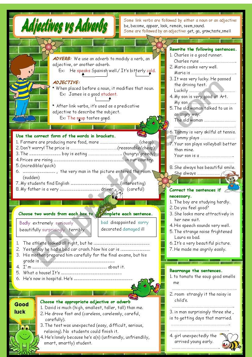 Adjectives vs Adverbs worksheet