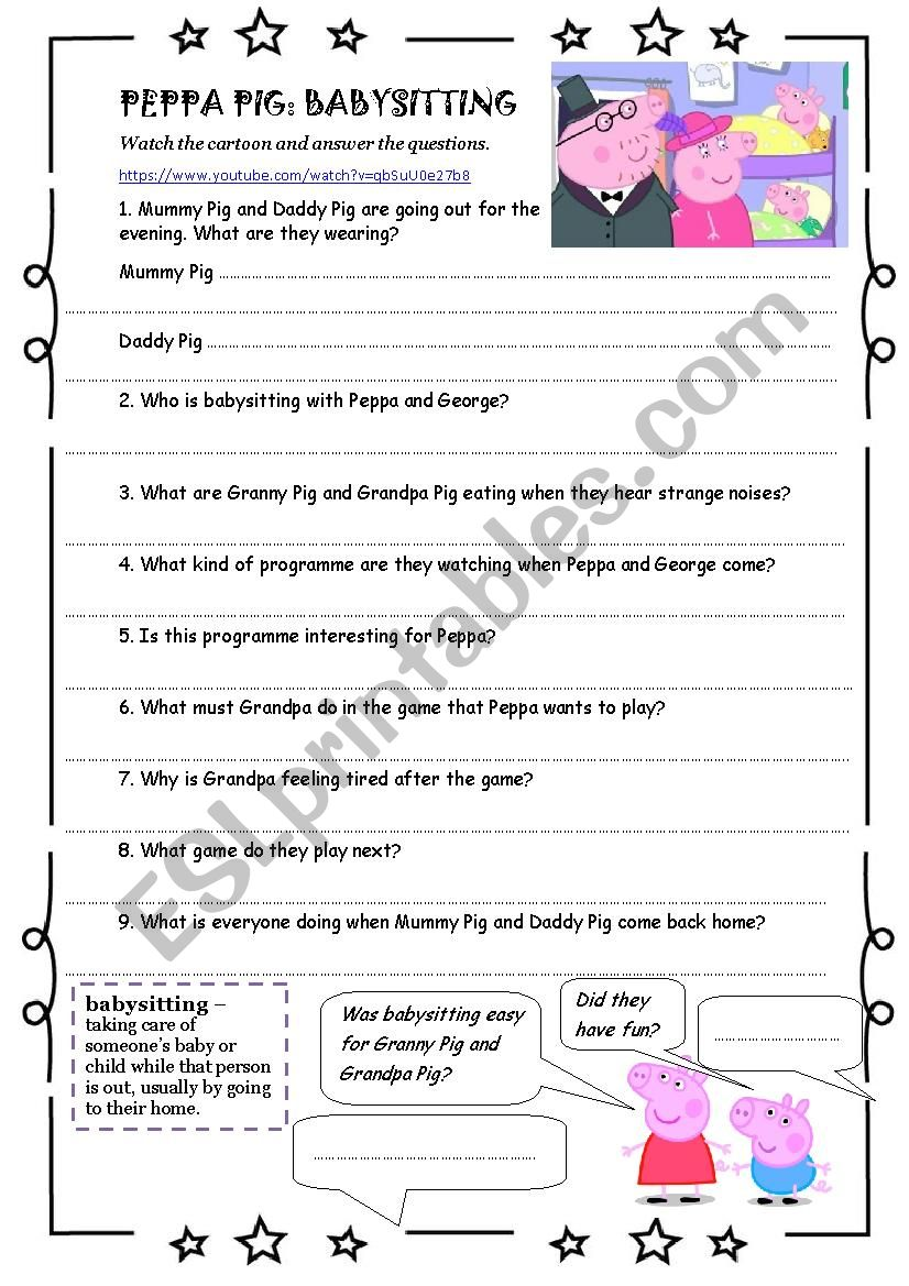 Worksheets Babysitting Worksheets english worksheets peppa pig babysitting worksheet