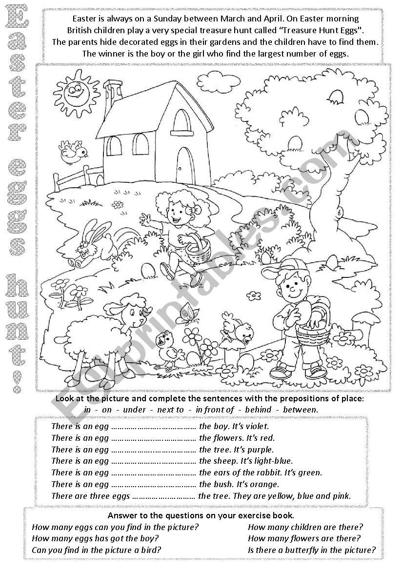 Easter eggs hunt worksheet