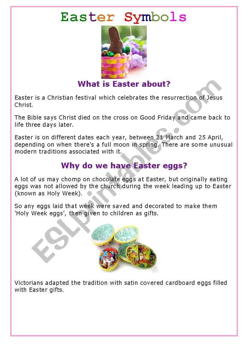 What is Easter about? 1 worksheet