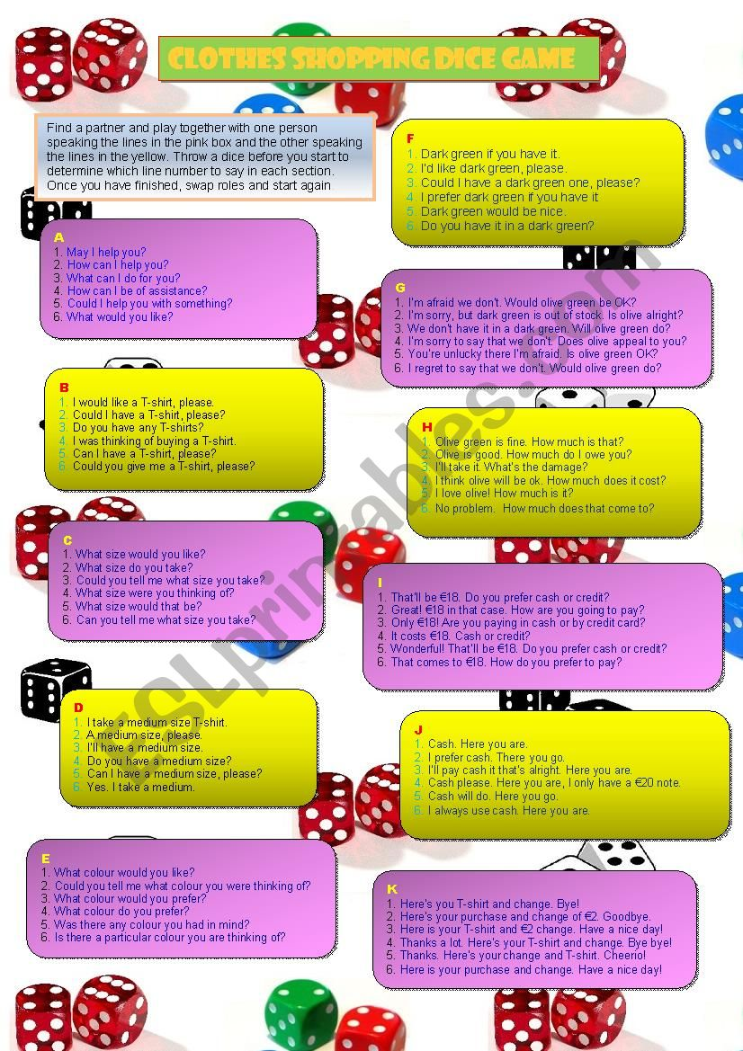Clothes Shopping Dice Game worksheet