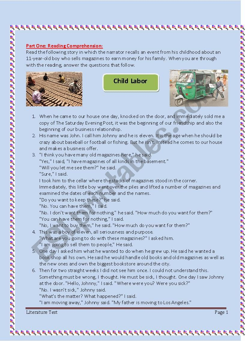 6th form Exam (Child labor) worksheet