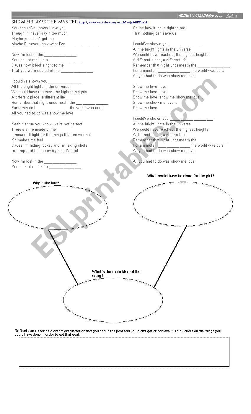 SHOW ME LOVE-THE WANTED-LYRICS - ESL worksheet by