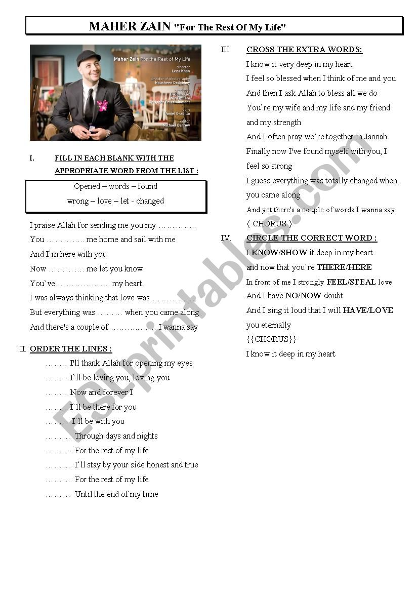 A song by Maher Zain- Listening exercises - ESL worksheet by