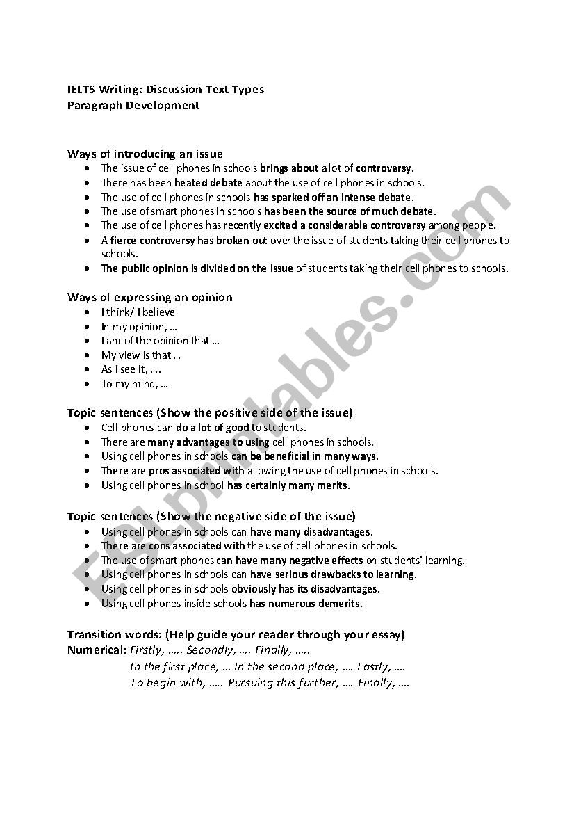 IELTS WRITING worksheet