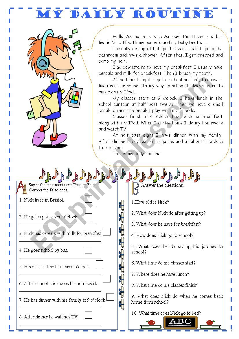 My daily routine - reading worksheet
