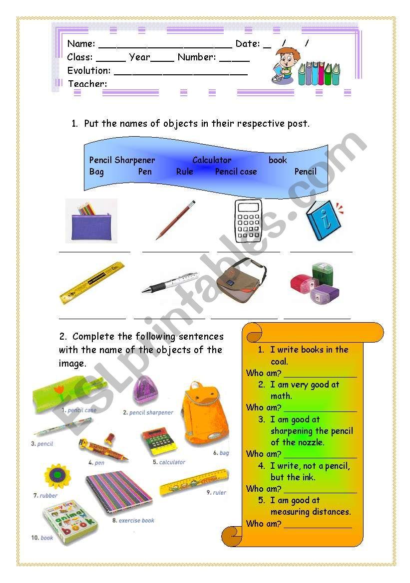 Objects of school worksheet