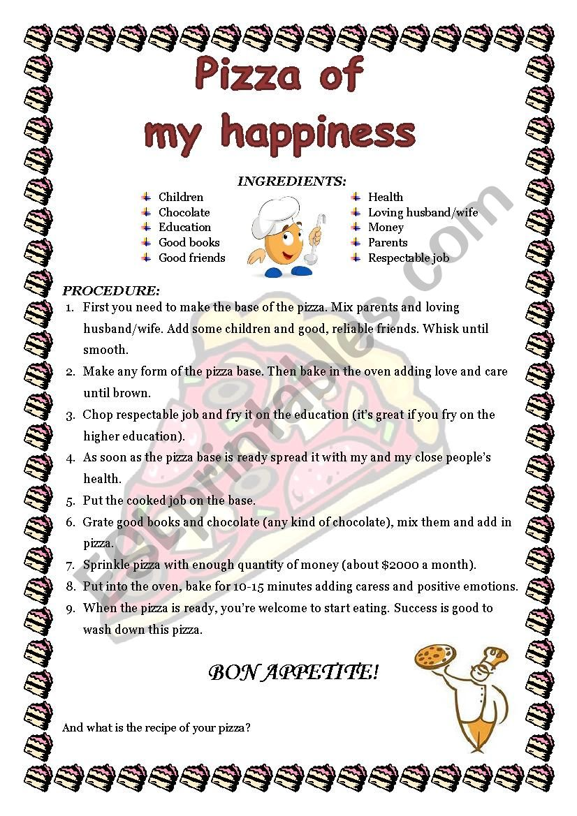 Pizza Of My Happiness Recipe Esl Worksheet By Xeniya