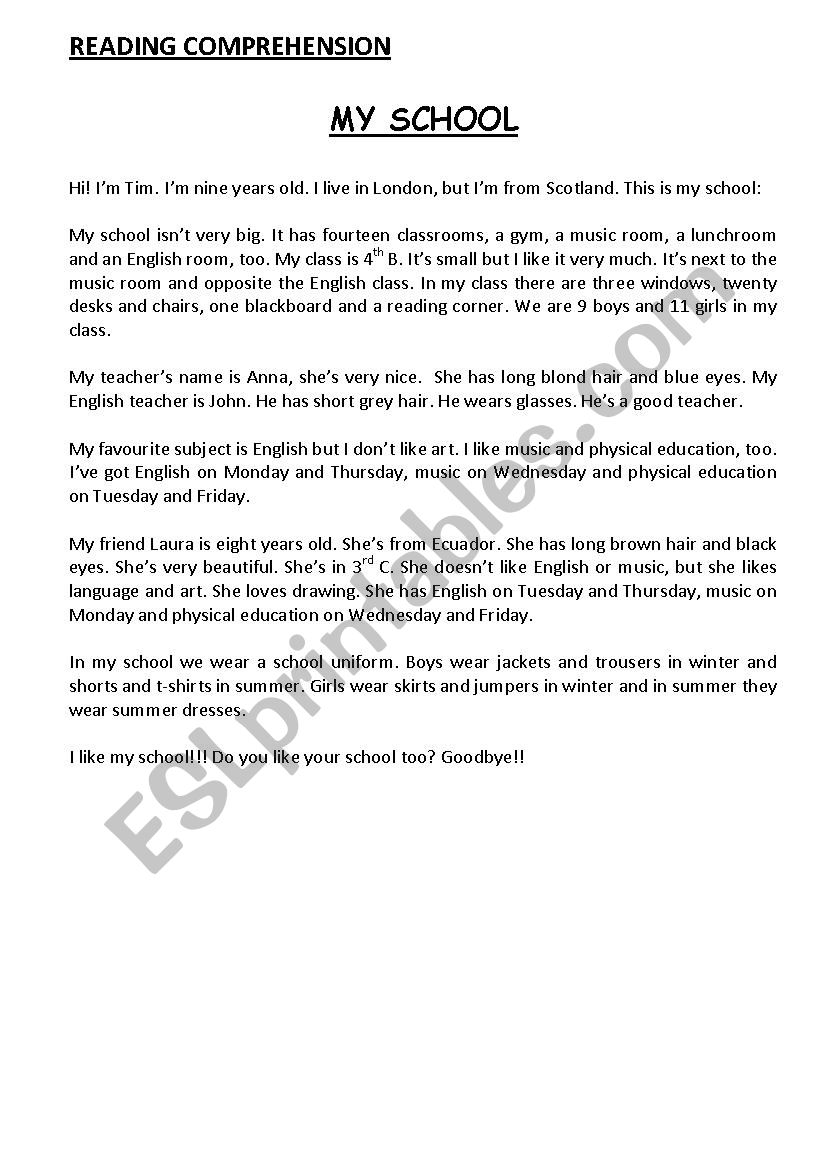 - Reading Comprehension - ESL Worksheet By Tejo