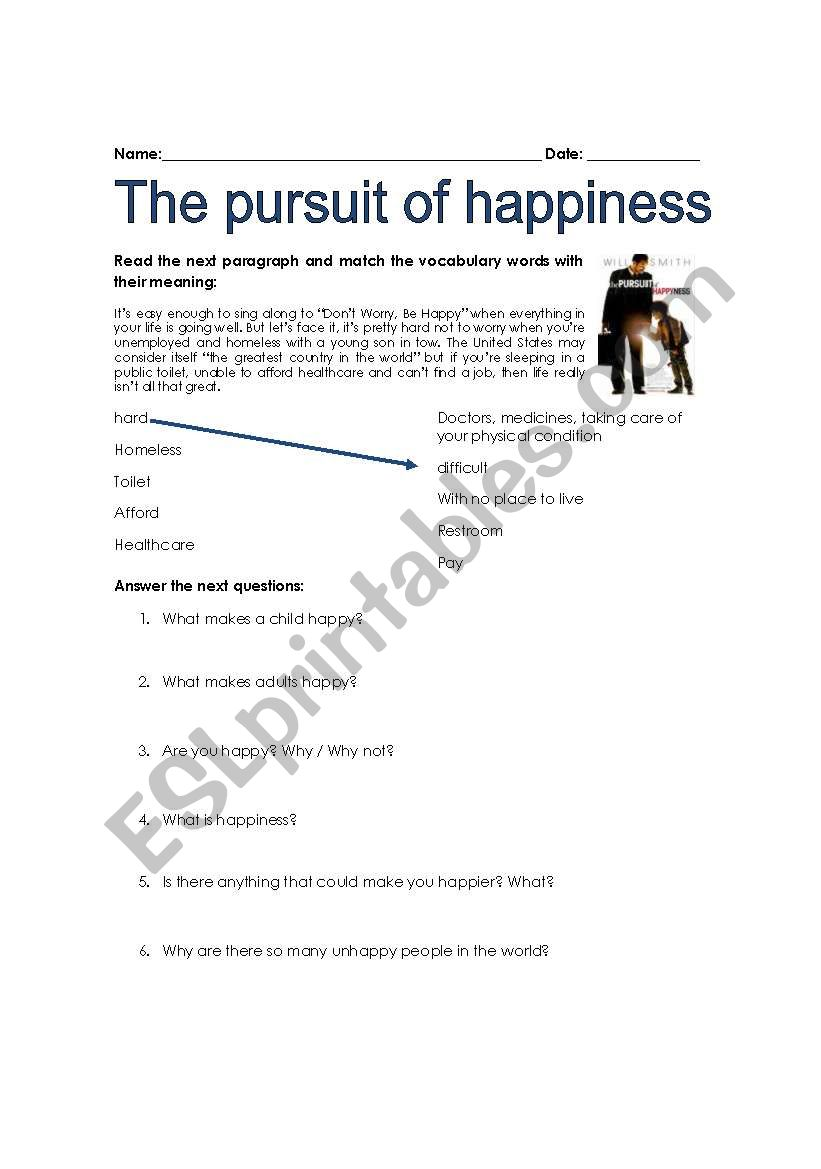 The Pursuit Of Happiness 1 Esl Worksheet By Dlar
