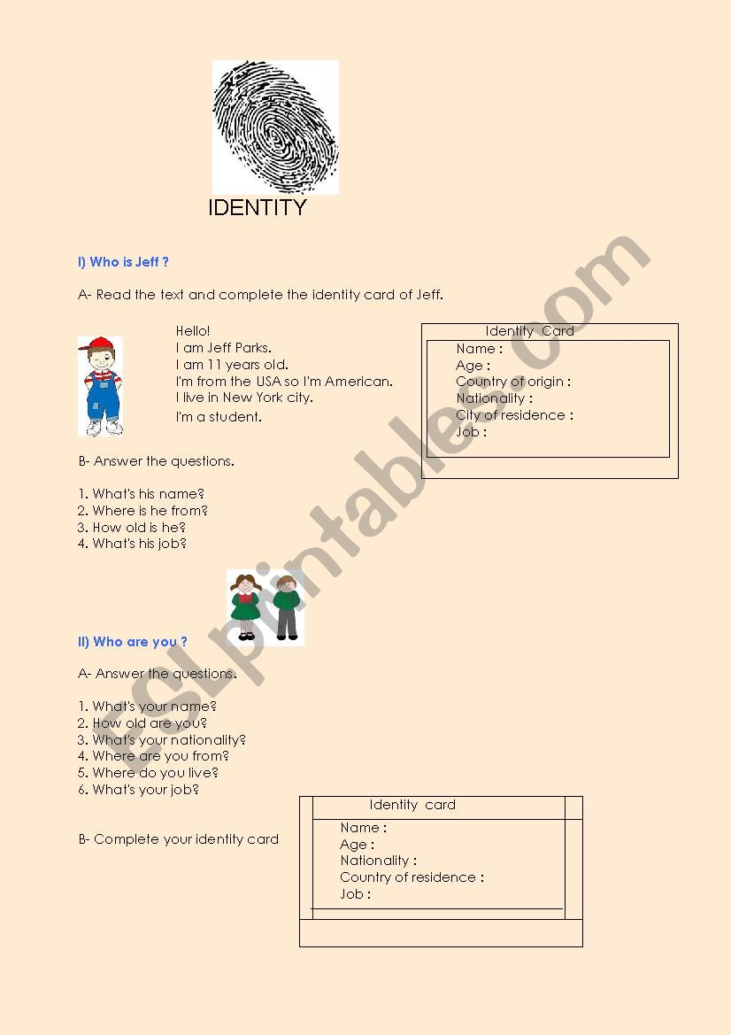Identity worksheet